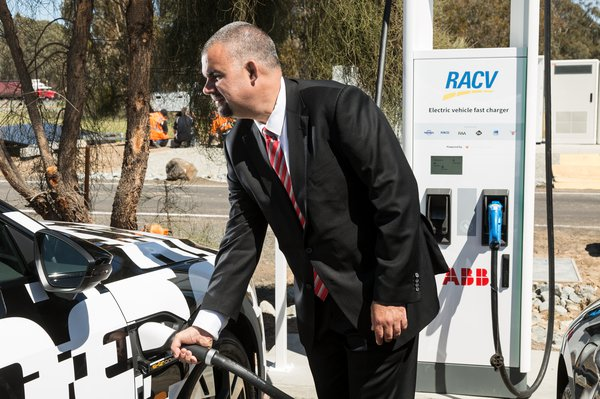 ABB's head of electrification David Sullivan at the opening of Chargefox's first station in Euroa, Victoria on the Hume Highway which features two of ABB's most technologically advanced high-speed chargers, the 350kW Terra HP.