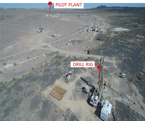 Fort Cady site with drill rigs and pilot plant in October 2017