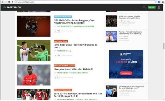 A sample of the display advertising on SportsBlog as part of the deal