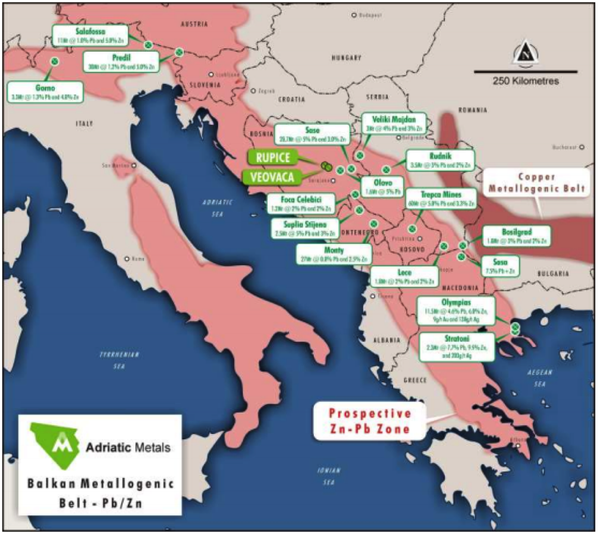 ADT's deposits deposits are located in the prolific Balkan Metallogenic Belt, well known for hosting quality lead-zinc deposits.
