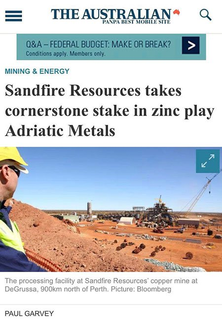 Sandfire resources the australian