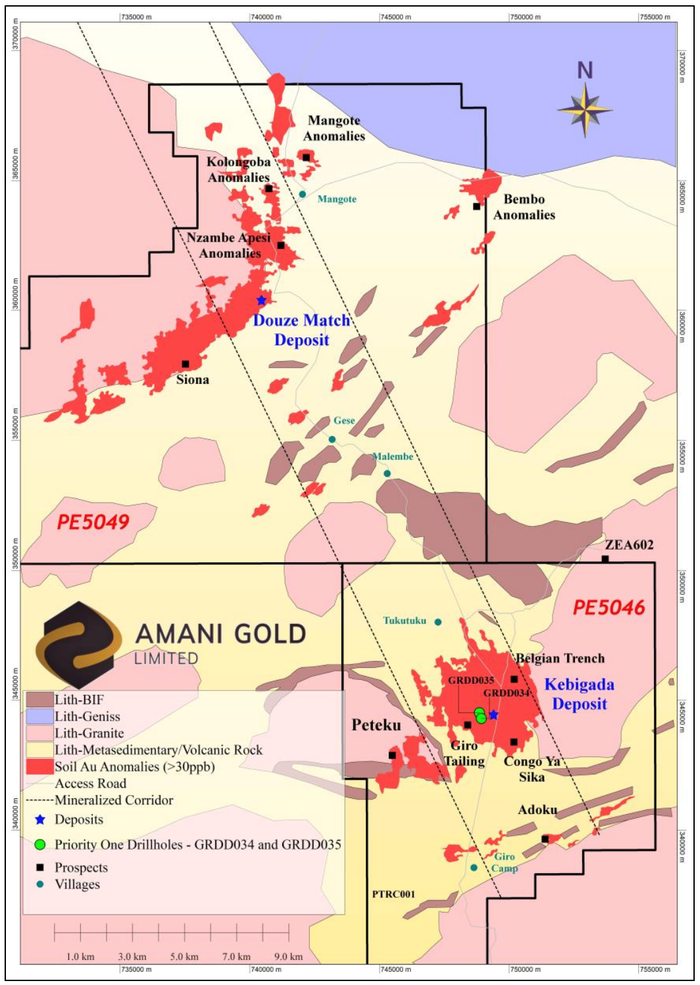 Giro Gold Project, showing tenement, surface geology, deposit and prospect locations and priority one diamond core drillholes GRDD034 and GRDD035 (Green) at Kebigada Deposit