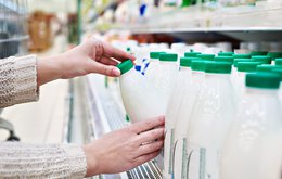 Milk products in the store