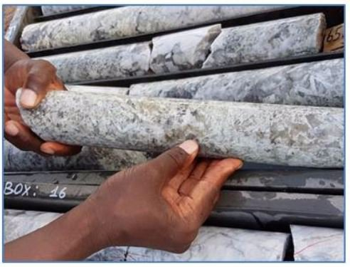 A sample of core taken from diamond drilling