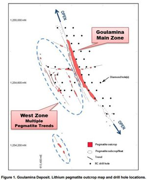 A map showing the Goulamina deposit and the RC holes recently sunk there