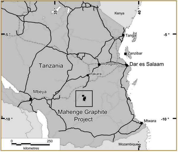 Mahenge graphite project map