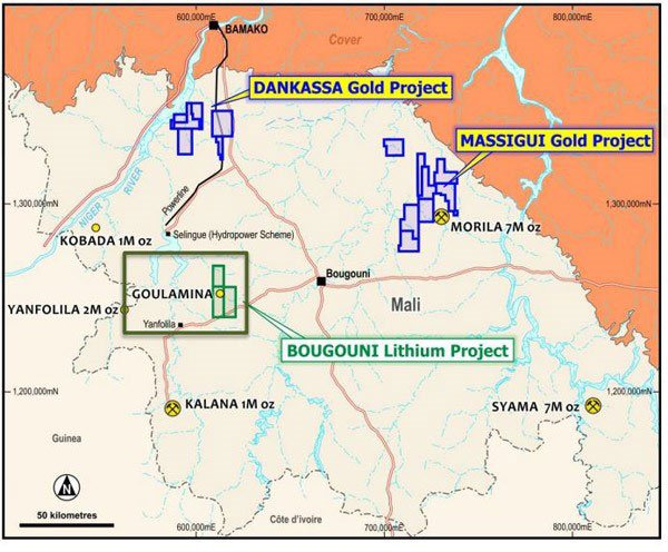 Location of Birimian Gold's projects in Mali