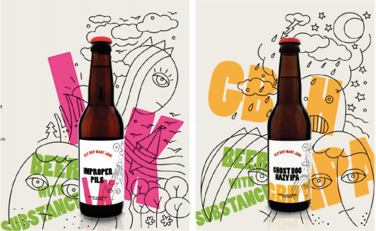 "The branding of the first two beers to be launched by CLV, replete with the tagline ""Beer with substance"""