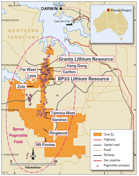 BP33 Resource within the larger Bynoe Pegmatite Field and CXO's Finniss Lithium Project