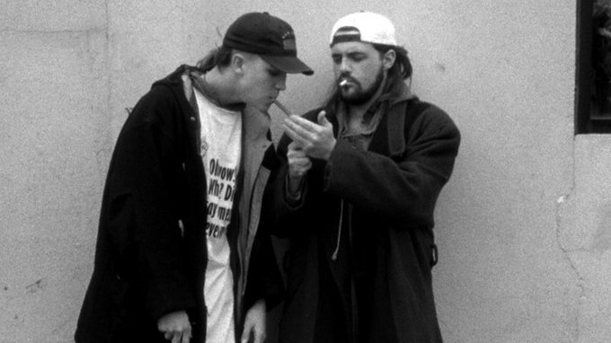 Jay and Silent Bob light up in Kevin Smith's 1994 stoner/slacker cult classic, Clerks — but they're hardly the only demographic to benefit