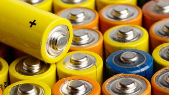 Batteries close up yellow coloured