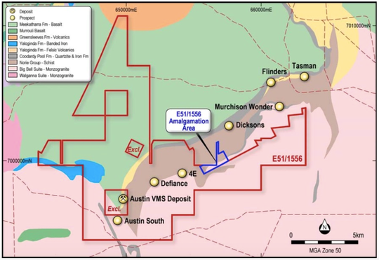 Meekatharra Project – VMS deposits and prospects on GSWA 1:500,000 Geology