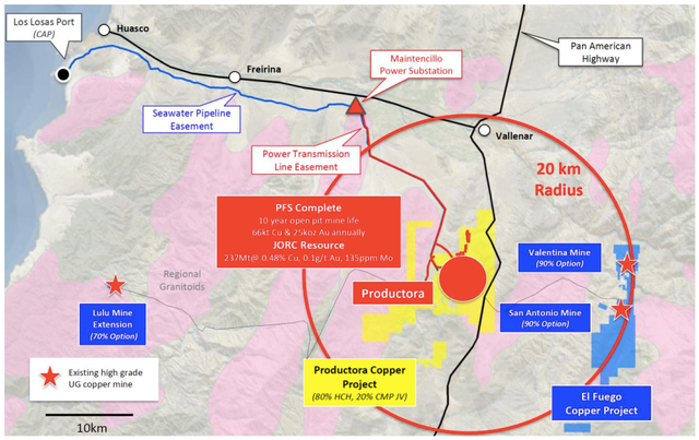 The new consolidated El Fuego copper project in relation to the company's existing large-scale Productora copper project.