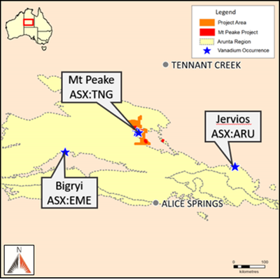 The Arunta region relative to the Wollagalong and Chisholm projects.