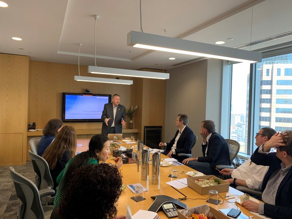 Mike Harsh presenting at an investor lunch in Sydney.