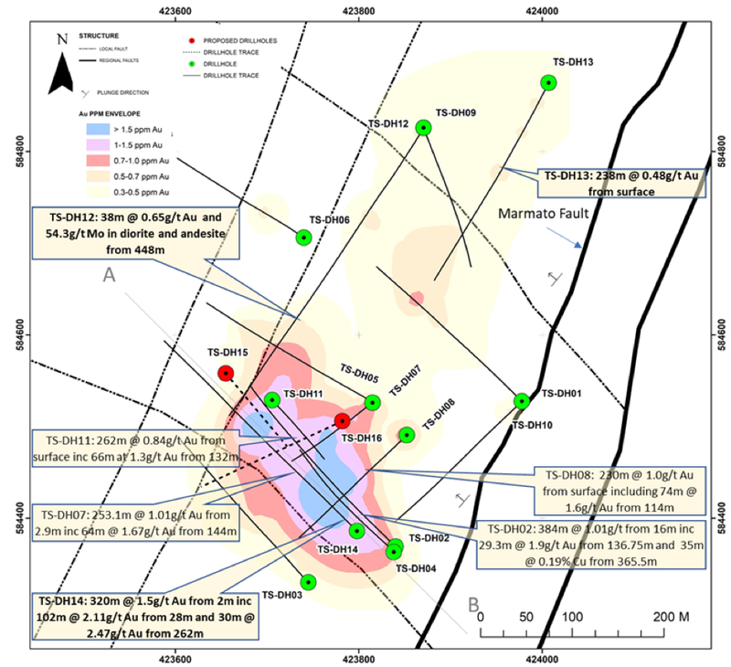 320m @ 1.5g/t gold drilled from surface at Tesorito.