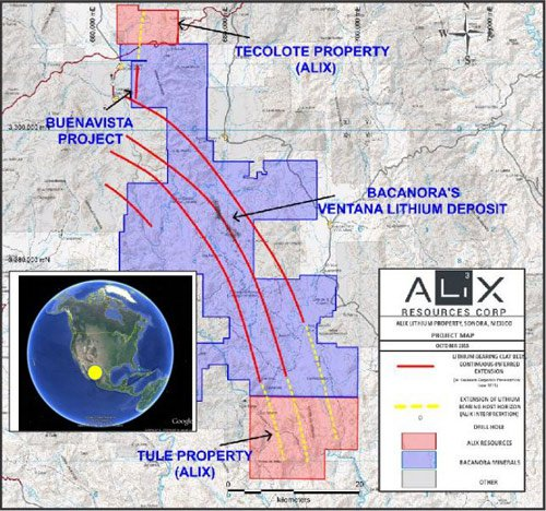 Location of the ALiX's projects in Senora, Mexico.