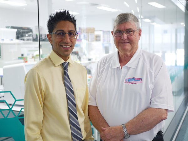 Telethon Kids cancer researcher Dr Rishi Kotecha with Australian Lions Childhood Cancer Research Foundation Trustee Peter Lamb.
