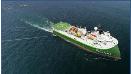 Polarcus Naila, which is undertaking the 3D Seismic Survey at Beehive.