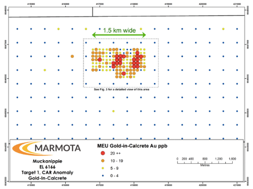 Target 1 (CAR): Gold-in-calcrete anomaly on regional 400m spaced grid