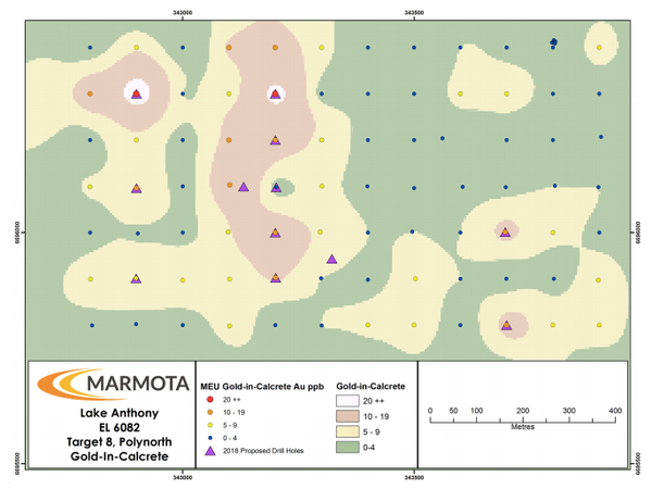 Target 8 (Polynorth) – Gold-in-calcrete anomaly with proposed drill holes