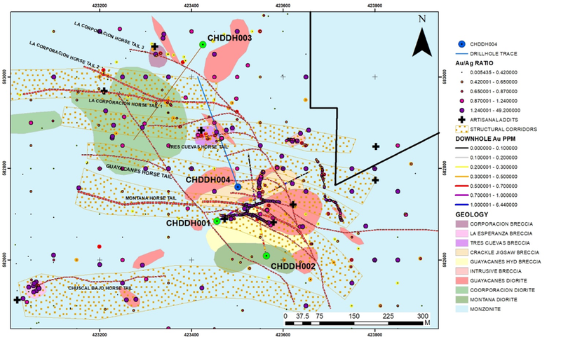 "Preliminary interpretation of results to date has identified 6 potential structural corridors for epithermal gold mineralisation which carry the ""horsetail"" fault structures (red dashed lines) interpreted to be the conduit for vein gold mineralisation."