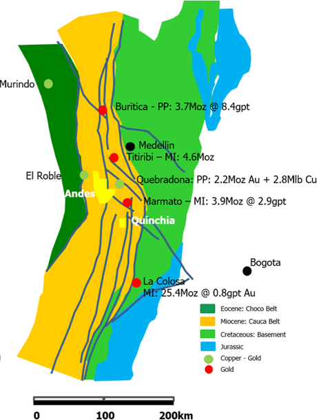 Location of the Chuscal Prospect, relative to regional major gold discoveries