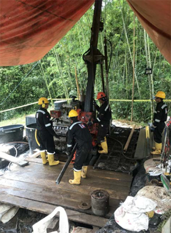 Drilling now underway at Tesorito, June 2018.