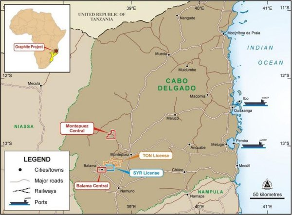 The location of MTA's projects in Mozambique
