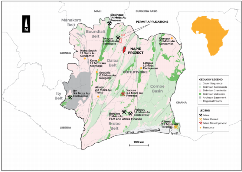 The Napié Project is located in a region surrounded by multi-million ounce gold projects.