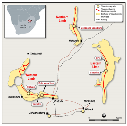 The location of the SPD Vanadium Project and other vanadium deposits in the Bushveld Igneous Complex