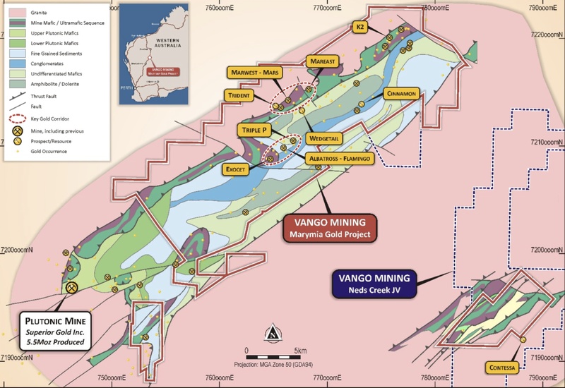 Marymia Gold Project and Ned's Creek JV tenements outline and geology with key prospects.
