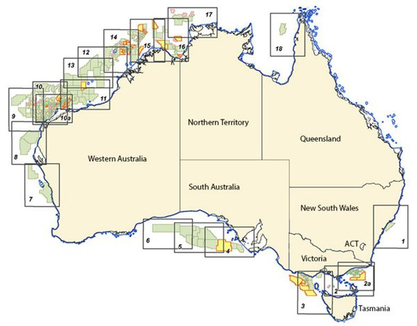 A map of the offshore licenses currently in Commonwealth waters