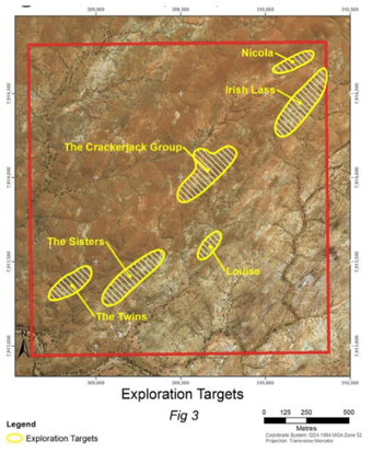 Exploration targets at Crackerjacket Project