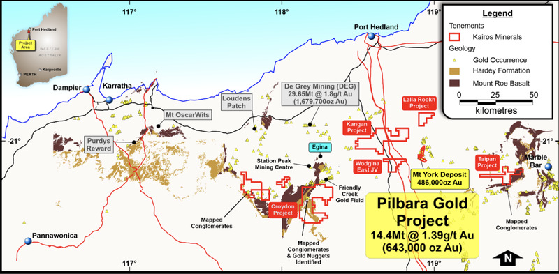 Pilbara GoldProject with regional geology.