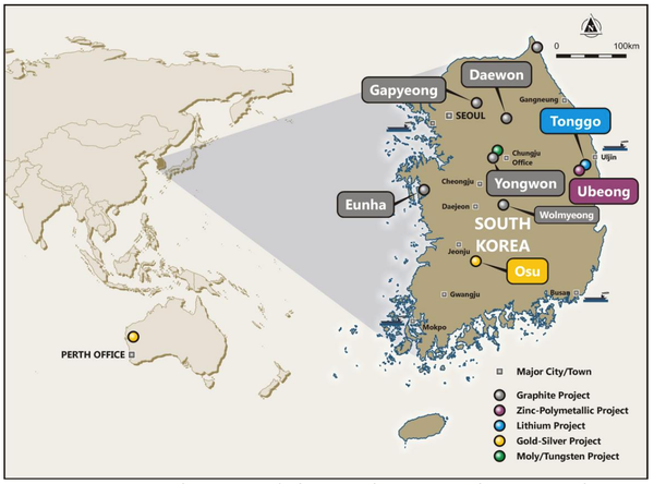 Gapyeong Graphite Project and other Peninsula Mines project locations in South Korea