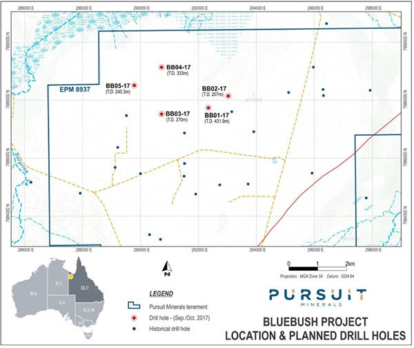 Pursuit minerals drill holes