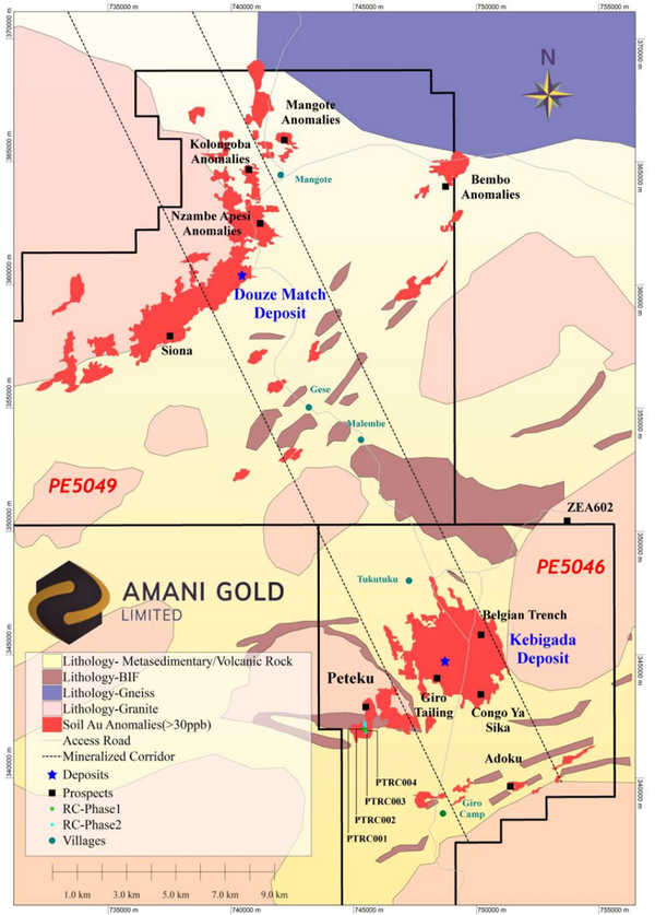 Surface geology, Kebigada and Douze Match gold deposits at Giro Gold Project, selected prospects, Au in soil anomalies and Peteku RC drillholes PTRC001-PTRC004