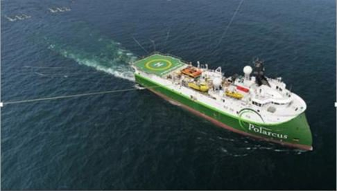Polarcus Naila which is currently acquiring the Beehive 3D Seismic Survey