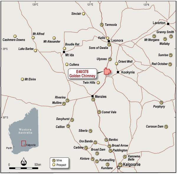 Golden Chimney West occupies an area of about 65 square kilometres and is located in a region that hosts world-class gold deposits.