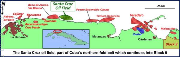 The Santa Cruz oil field continues into Block 9