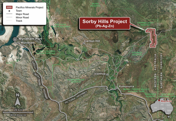 Location of the Sorby Hills Project, approximately 50km northeast of Kununurra, WA.
