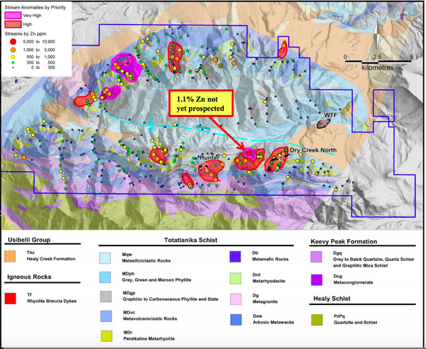 Location of high priority stream sediment geochemical anomalies on the DGGS geology map and terrain surface with locations for the Dry Creek and West Tundra Flats VMS deposits, and the recent Hunter VMS discovery.