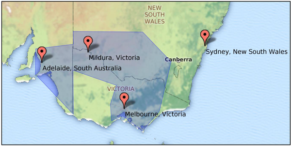 CropLogic's target geography: the Southern Regions showing the location of Mildura.
