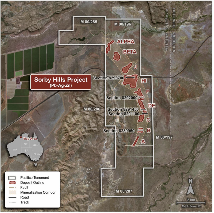 Sorby Hills Mineralised Corridor of Lead-Silver Deposits with a Global Mineral Resource Estimate Totalling 16.5Mt @ 6.0% Pb Equiv (4.7% Pb, 0.7% Zn and 54 g/t Ag)