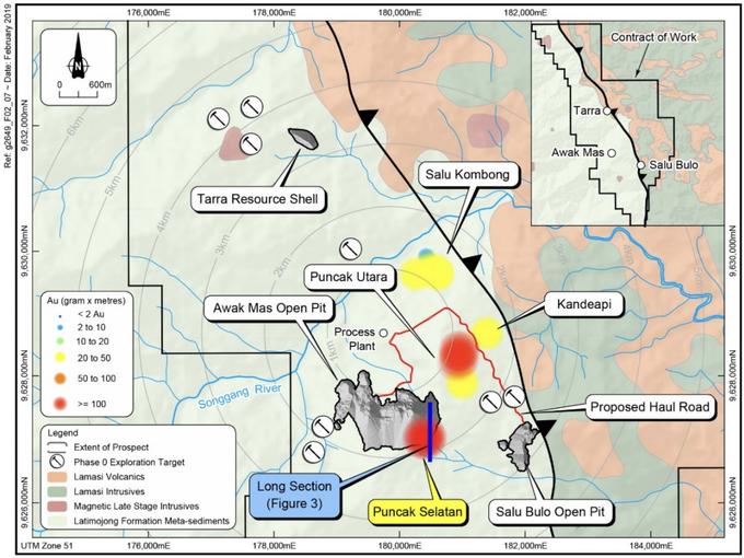 Near Mine prospects including the priority exploration prospects of Puncak Selatan, Puncak Utara and Kandeapi