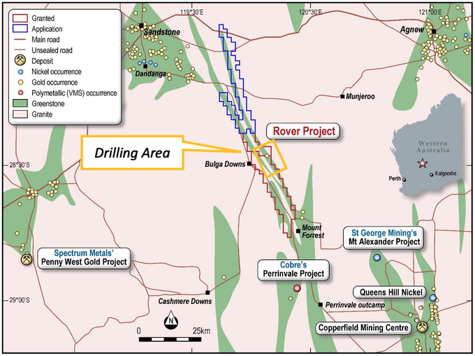 Rover Project relative to greenstone belt & select peers' operations