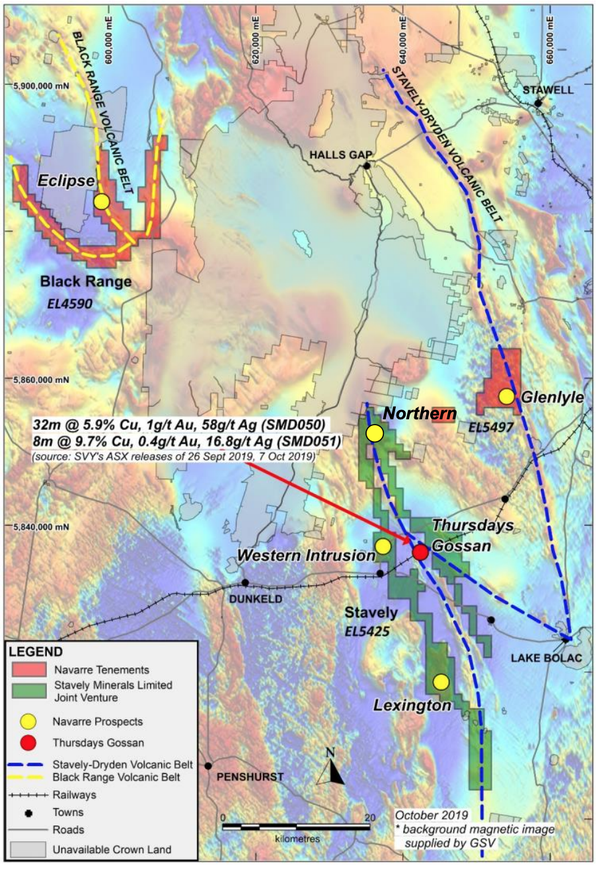 Navarre's three mineral properties within the Stavely Arc Volcanic Belt