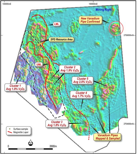 Magnetic image showing location of Vanadium Pipes at the SPD Project