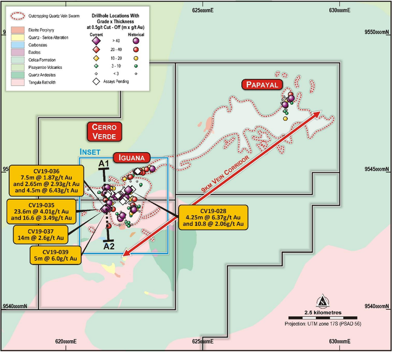 Dynasty Project geology summary and outline of mapped extent of the vein swarm with drill collar locations illustrated by grade multiplied by drilled thickness values for intercepts at a greater than 0.5g/t Au lower cut-off